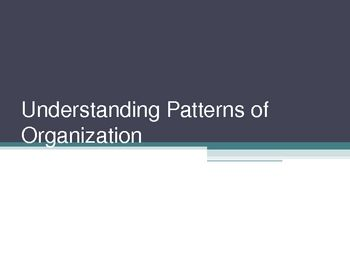 This 16 slide PowerPoint presentation introduces patterns of organization found mostly in non-fiction.  It covers patterns of: time, listing, illustration, definition and example, compare and contrast, cause and effect, as well as transition words that signal each type of pattern.
