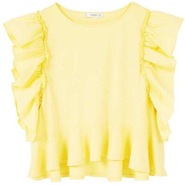 MANGO Ruffle T-Shirt (620 ARS) ❤ liked on Polyvore featuring tops, t-shirts, ruffle tee, sleeve t shirt, mango t shirt, frill sleeve top and beige t shirt