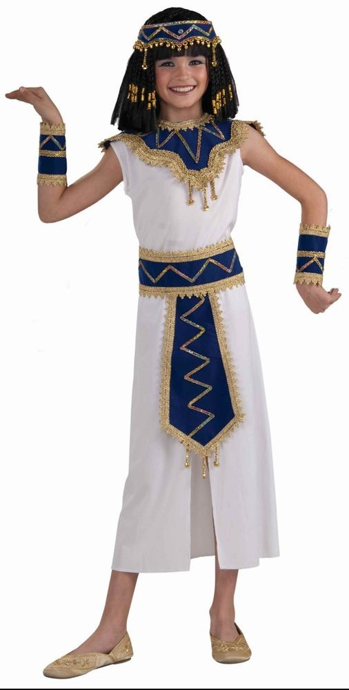 Girls Cleopatra Costume Egyptian Nile Princess Egypt Queen White Dress Kids NEW  | eBay