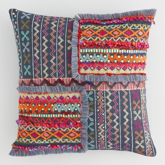 Multicolor Embroidered Patch Throw Pillow World Market Living