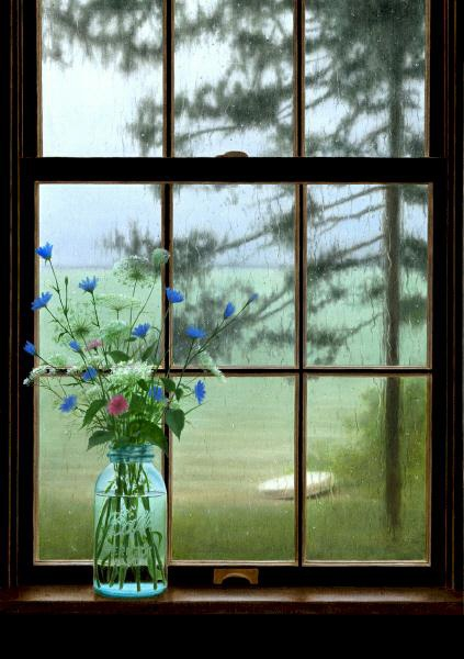 This picture has everything I love in it on a rainy day. Shows it could still be a beautiful day!! =)