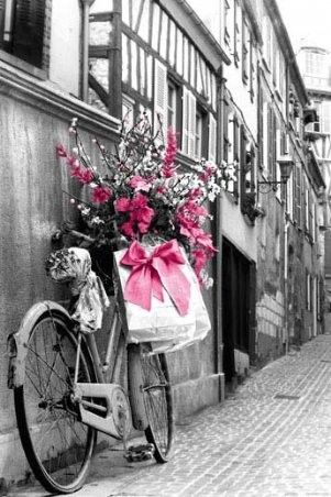 : Bicycles, Pink Flowers, Black White Photography, Black And White, Bikes, Pink Bows, Valentines Day, Colors Splash, Pretty