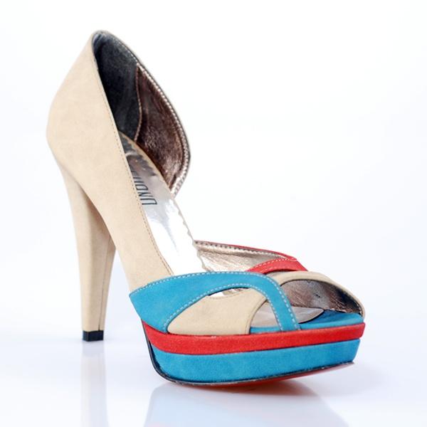 Freehand Women Shoes, Güncel, Bej Mavi Kırmızı