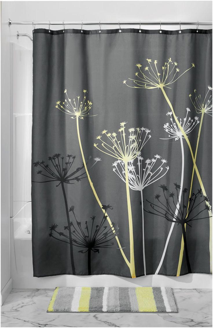 Interdesign Thistle Shower Curtain, Gray/Yellow | Free Shipping