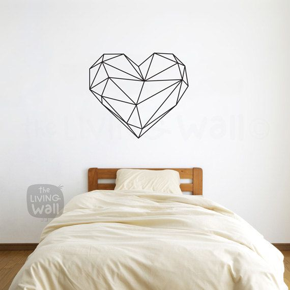 Geometric Heart Wall Decals Home Decor Removable Vinyl Wall Stickers, Geometric Heart Wall Art Bedroom, Australian Made