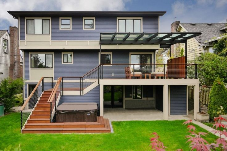 Modern House Ideas Come With Glass Outdoor Deck Shades Designs And Simple Front Yard Landscaping And Wooden Staircase