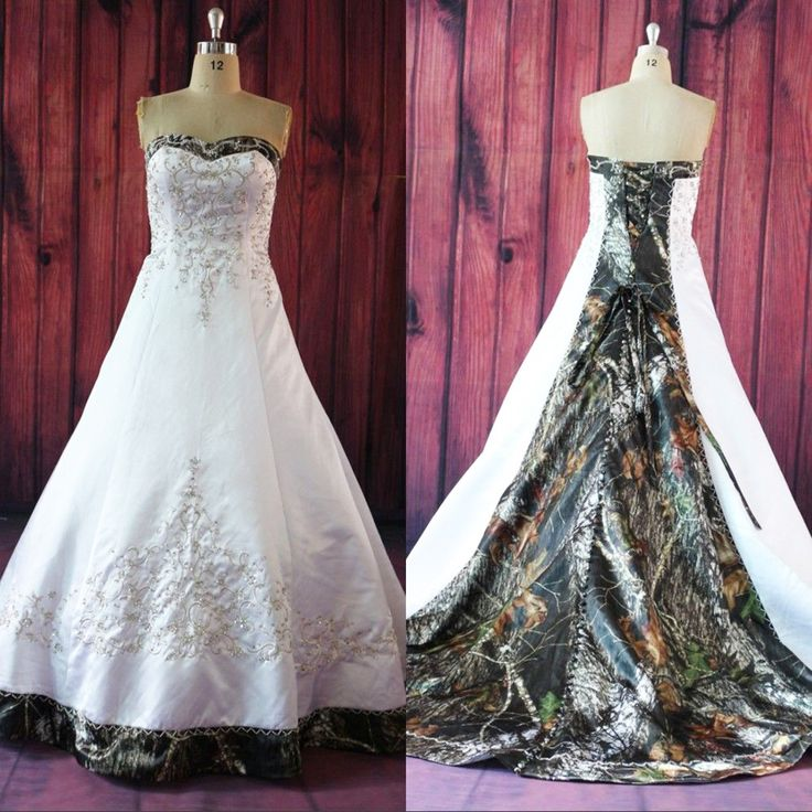 Wedding Dress With Pink Camo Sash 116