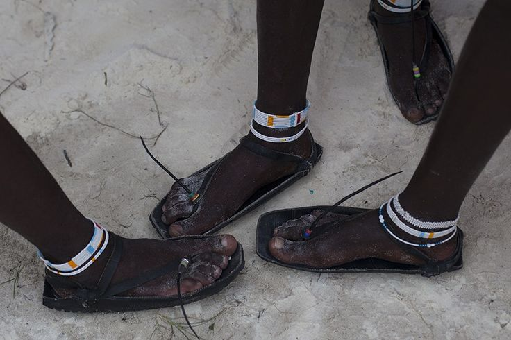 Masai sandals made of recycled car tires, seen at Nungwi Beach in Zanzibar