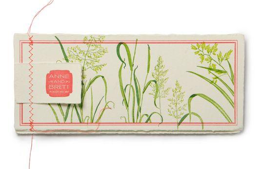 beautiful hand-stitched/letterpressed botanical wedding invitation. artist: Karin Soukup