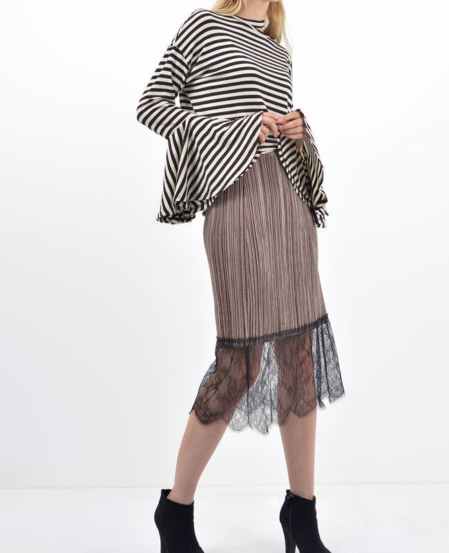Cameron Velvet Lace Skirt │ Shop trendy leather & fur clothing at bosroom.com #fall #velvet #velvetskirt #lace