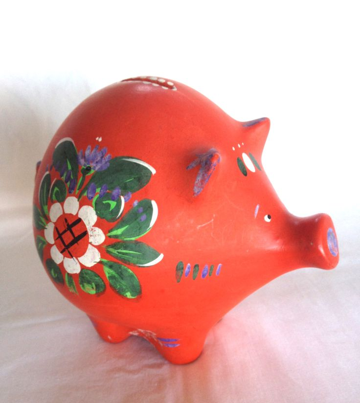 Scandinavian Piggy Bank by WhitehornVintage on Etsy