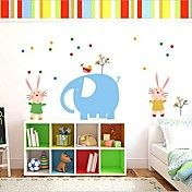 Cartoon Elephant and Rabbit Wall Sticker – NOK kr. 60