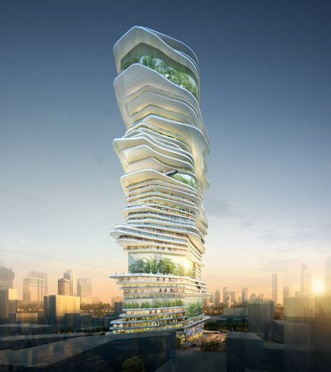 Endless city by SURE Architecture- News: this competition-winning design by SURE Architecture envisions a futuristic skyscraper that could house an entire city – with its own ecosystem and a spiralling form that could be extended infinitely upwards.