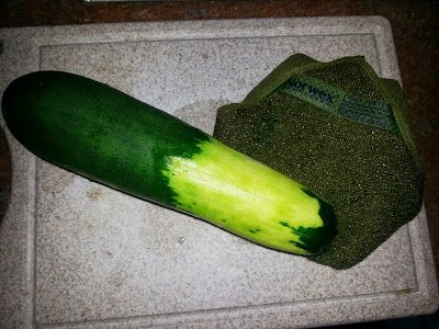 It took me approximately 20 seconds to peel the top half of this gigantic zucchini with the rough side of the Norwex Veggie & Fruit Scrub Cloth before I sliced it for our dinner. The Veggie & Fruit Scrub Cloth not only removes the dirt and debris from the outside of fruits and veggies, but it also removes the outer wax coating that can harbor bacteria, fungi, and viruses.  Use it for all of your fruits and vegetables to smooth, polish, shine, peel, and of course, clean them before eating!