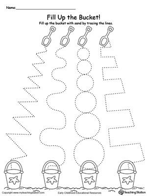Practice tracing line patterns with this sand bucket line tracing worksheet.