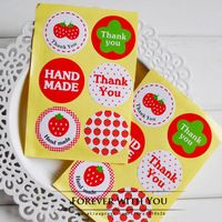 2014 FREE SHIPPING christmas strawberry thank you round paper sticker label for baking food 360pc/lot  d:3.5cm