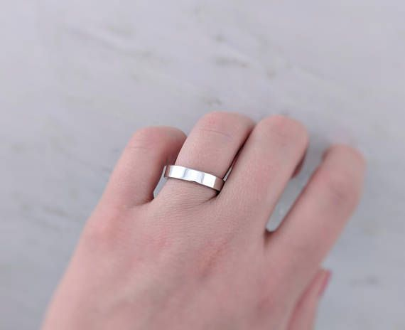 Solid 14k White Gold Wedding Band 4mm White Gold Wedding Ring White Gold Ring Simple Wedding Ring Womens Minimal Ring Jewelry 14k White Gold Wedding