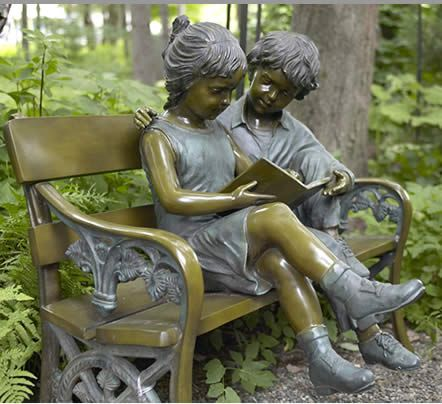 Bronze Reading Bench Garden Statue