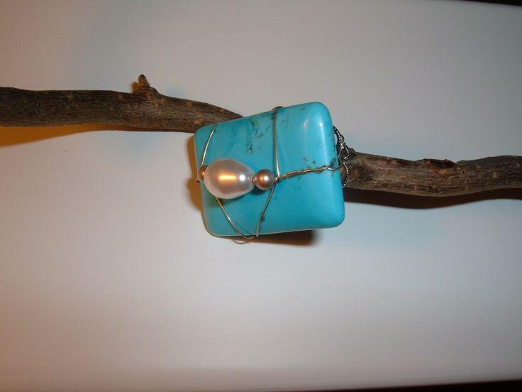 anello ring turchese con perle madreperlate : Anelli di elenalucc