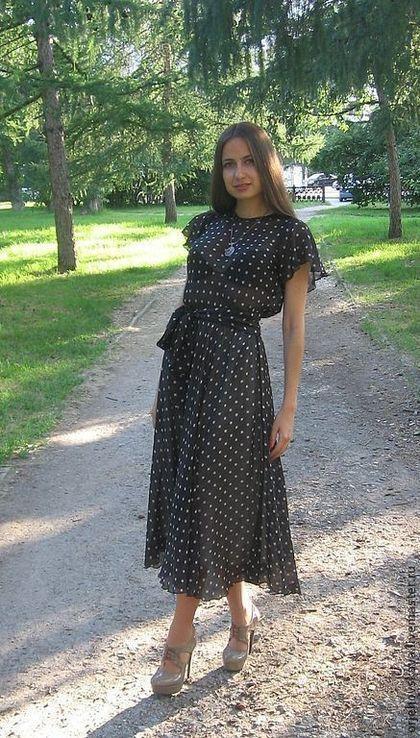Платья ручной работы. Ярмарка Мастеров - ручная работа. Купить Платье в горошек. Handmade. Черный, платье в горох, ретро-стиль