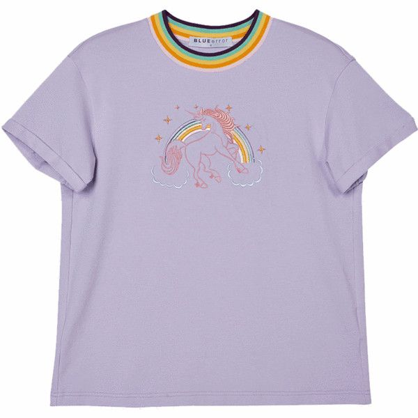 Unicorn Embroidered T-Shirt (265 MXN) ❤ liked on Polyvore featuring tops, t-shirts, embroidery top, purple tee, unicorn tee, embroidered t shirts and embroidery t shirts
