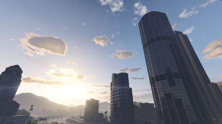 Los Santos downtown  #grandtheftautov#gtav#rockstargames#landscape #art #beautiful#moment #love#pic#ambience #sky #clouds
