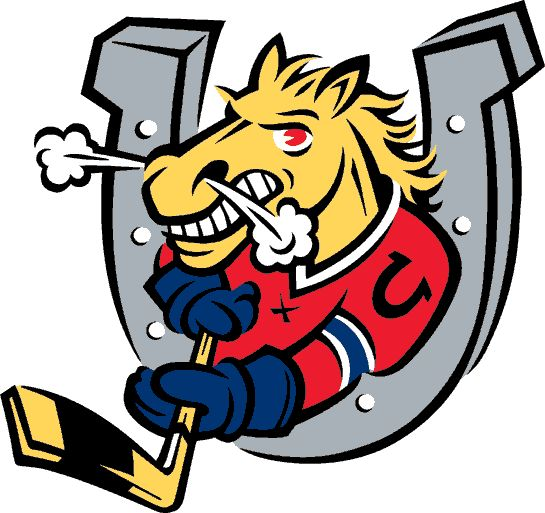 Barrie Colts Primary Logo (1996) - A horse through a horseshoe holding a hockey stick