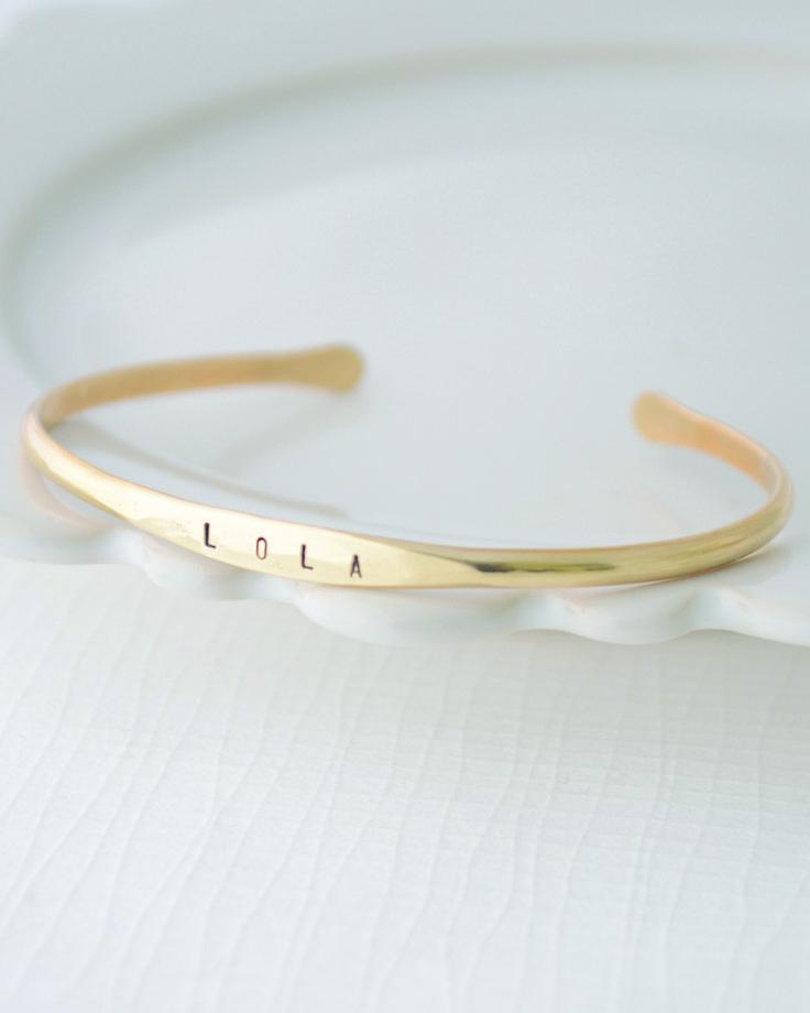 Personalized Stamped Bangle Bracelet by Olive Yew. www.oliveyew.com