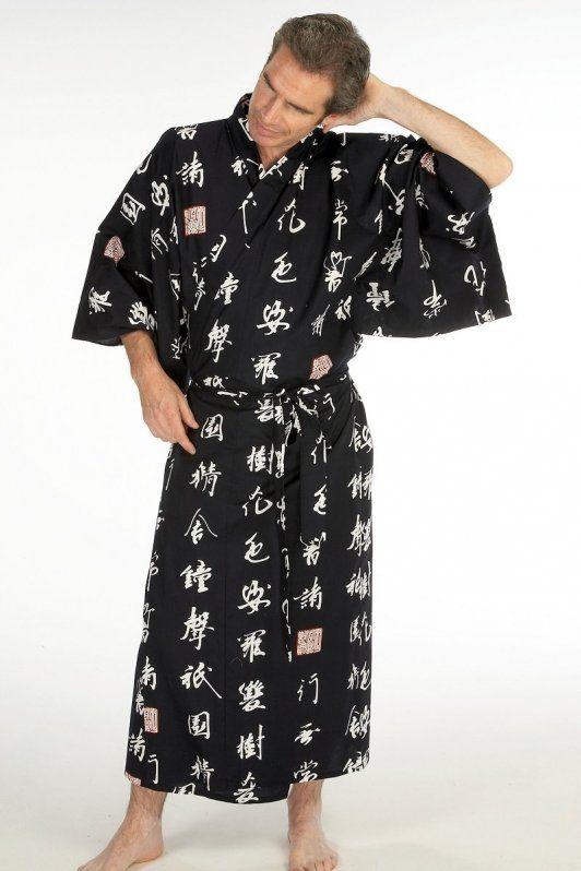 Men's Japanese kimono robe in cotton - 'Kyoto Saga ...