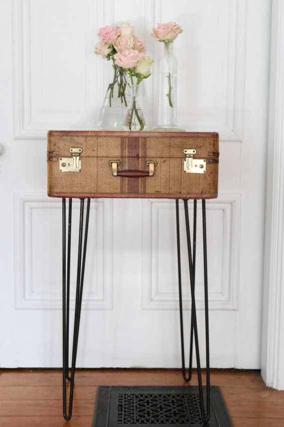 Vintage 1930s Suitcase Table with Hairpin Legs Bar by dingaling