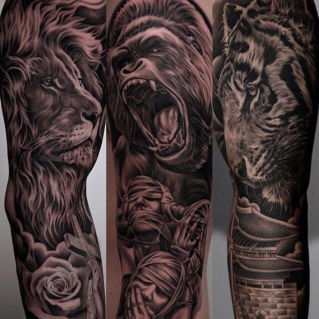 Amazing artist Jun Cha  tattoo collage including Avicii tattoo.