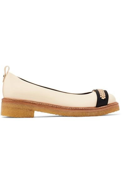 Lanvin - Chain-embellished Glossed-leather Ballet Flats - Neutral - IT
