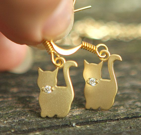 Cute Cat Family Gold Plated Simple Necklace & Earrings Jamie's Hand Made