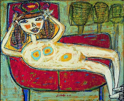 Woman Trying a Hat 1943 Jean Dubuffet  Still one of my favorite artists. i love a sense of humor