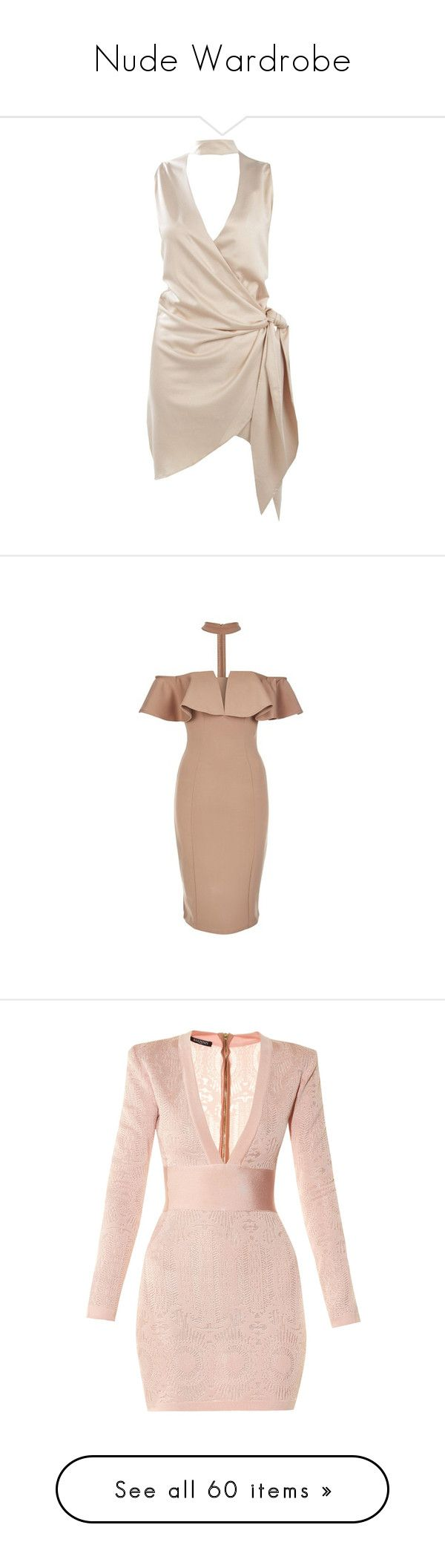 """Nude Wardrobe"" by alyssawui ❤ liked on Polyvore featuring dresses, bodycon party dresses, pink party dress, pink bodycon dress, satin wrap dress, bodycon dress, camel, body con dress, beige midi dress and plunge bodycon dress"