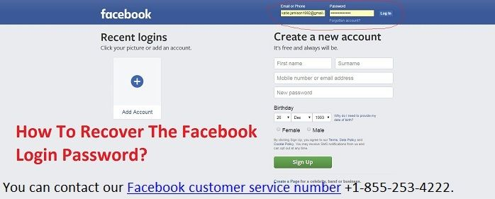 How To Recover The Facebook Login Password Facebook Support New Password Phone Numbers