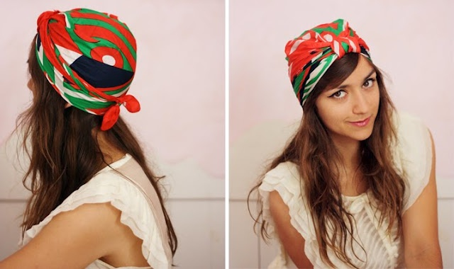 How to tie a head wrap out of a square scarf