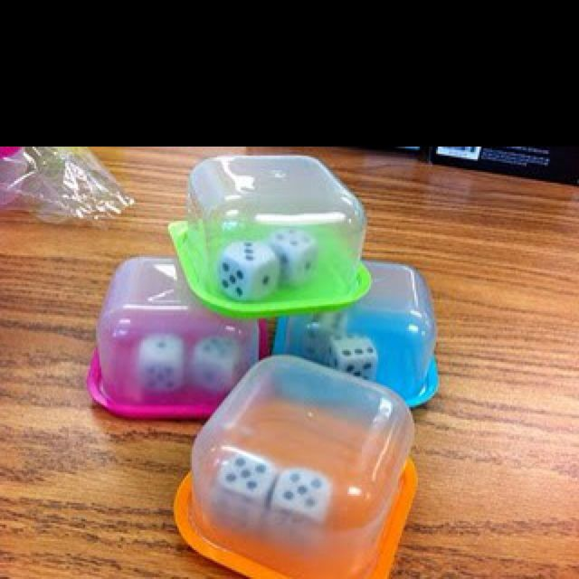 "This is one of the best ideas! I purchased these containers from Staples. No more dice rolling all over the room! ""Shake, shake, shake, read!"" A must-do for Everyday Math teachers!"