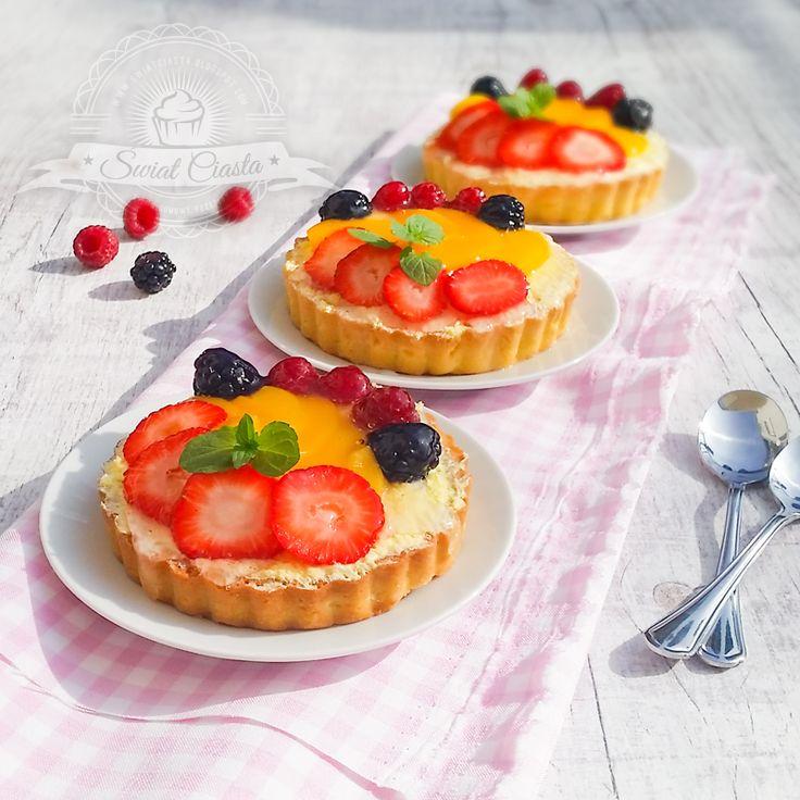 Tartaletki z kremem budyniowym i owocami   Świat Ciasta