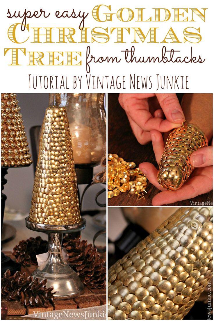 Super Easy Golden Christmas Tree from Thumbtacks #12DaysofTrees