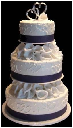 wedding cakes 3 tiers blue ribbon roses - Google Search - but I would want royal blue ribbon, white roses, and the A monogram on top!