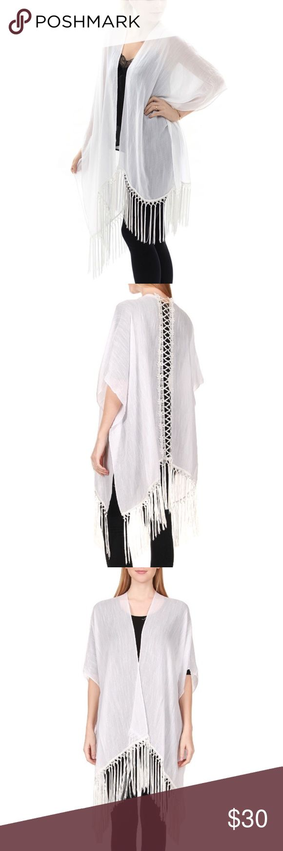 White Back Lace Trim Fringe Kimono Vest Spring Summer ! One size ! Content : 50% Cotton, 50 % Viscose Available in colors : White, Black, Beige, Pink Swim Coverups