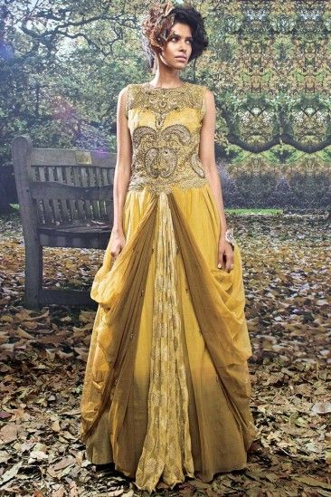 Mustard and Brown Net and Viscose Partywear Gown - DMV13869