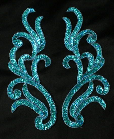 LR120-2 Mirror Pair Sequin Bead Applique Motif Hologram Aqua