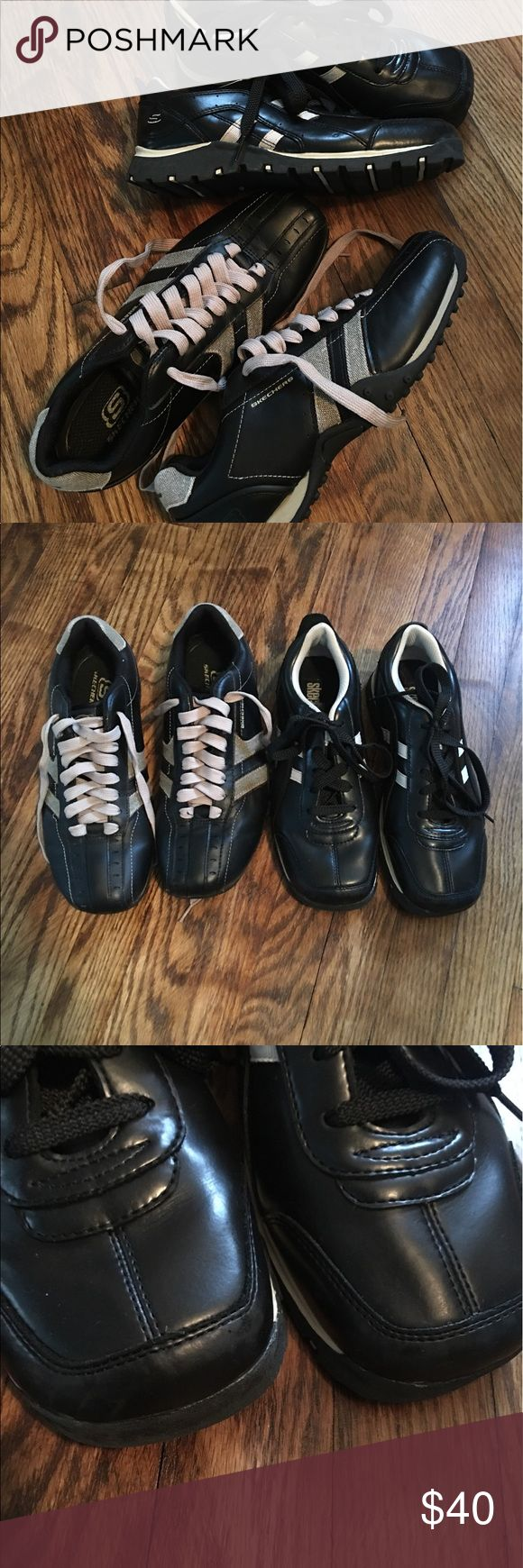 Casual Skechers EUC men's causal wear Skechers. These are in excellent condition! Only sign of wear is on the far right pair. Some very small scuff on the toe of each shoe as pictured. Soles show no wear! Great way for two pair of quality shoes for a good price! Skechers Shoes Sneakers