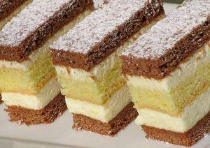Mézes sütemény citromos krémmel recept Hozzávalók: Barna lap: 1 tojás 25 dkg cukor 8 dkg puha vaj 1 cs vaníliás cukor ½ tk. őrölt fahéj 5 ek. tej 2 ek. méz 2 ek. kakaópor 45 dkg liszt 1 kk. sütőpor ½ kk. szódabikarbóna Világos lap: 5 tojás 15 dkg cukor 15 dkg liszt 1/3 kk.(...)