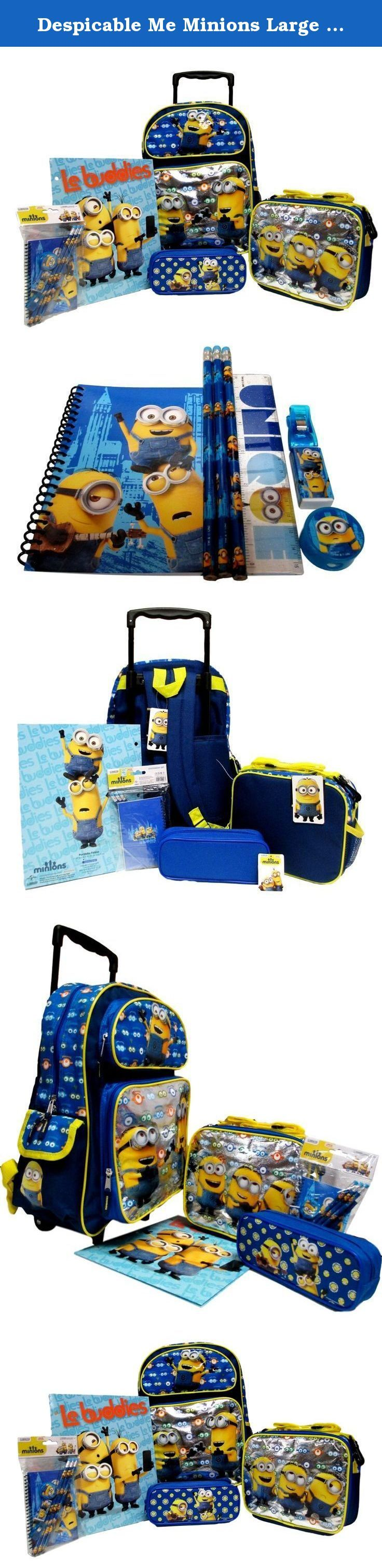 "Despicable Me Minions Large 16"" Rolling Backpack, Lunch Box, Pencil Pouch & Stationery Set. Despicable Me Rolling Backpack Set!. Large 16"" Rolling Backpack. Lunch Box. Pencil Case, Stationery Set and Folder. This complete set is offered by seller Bag2School."