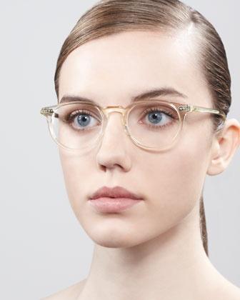 Oliver Peoples Riley Fashion Glasses, Beige Crystal