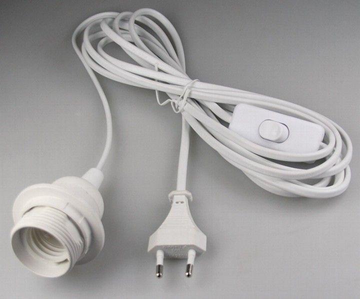 Lovely Gesamtl nge m u m vom Stecker zum Schalter u m vom Schalter zur Fassung u Farbe wei u F r Lampenschirm geeignet Lampenschirmring
