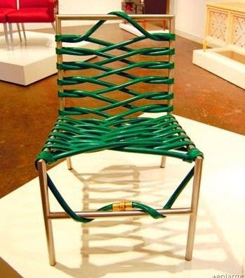 Re-strap a lawn chair with a garden hose.  Upcycling at its best!